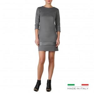 Fontana elegant jersey dress with leather inserts.
