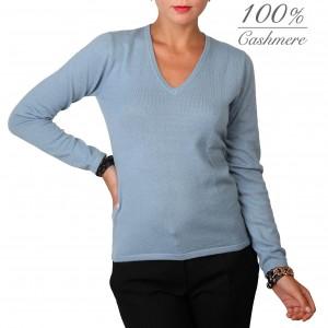 Fontana 2.0 Jersey woman 100% cashmere v-neck pullover.