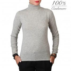 Fontana 2.0 100% cashmere grey turtleneck pullover.