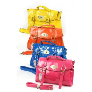 Fashion Only patent buckle detail fashion satchel.