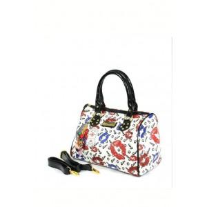 White fashion tote bag with charm.
