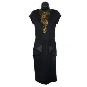 Asos black lace trim peplum dress