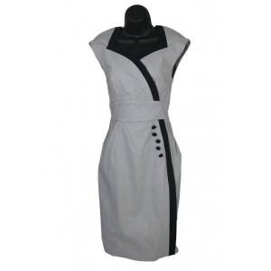 Button side vintage grey pencil dress