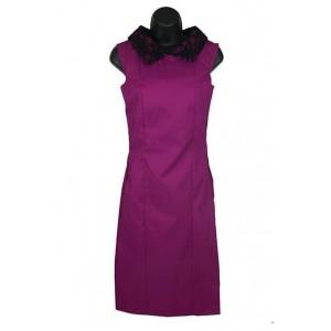 Lace collar purple pencil dress