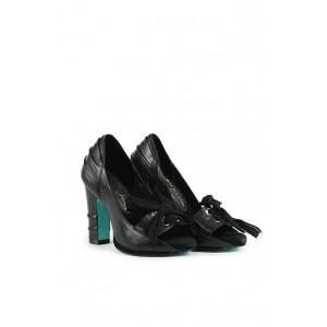Irregular Choice black leather open toe court shoes