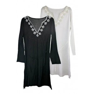 Boutique cotton kaftan with metalic embroidery
