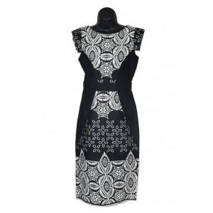 Black-white tile print dress.